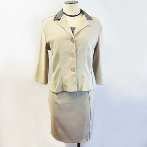 Vintage 90's Tan & Animal Print 3 pc. Skirt Suit